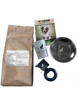 Image Kit chiot Wolfood  sac de 1.5 kg Puppy Chicken + un gobelet + un jouet + une gamelle inox 16cm